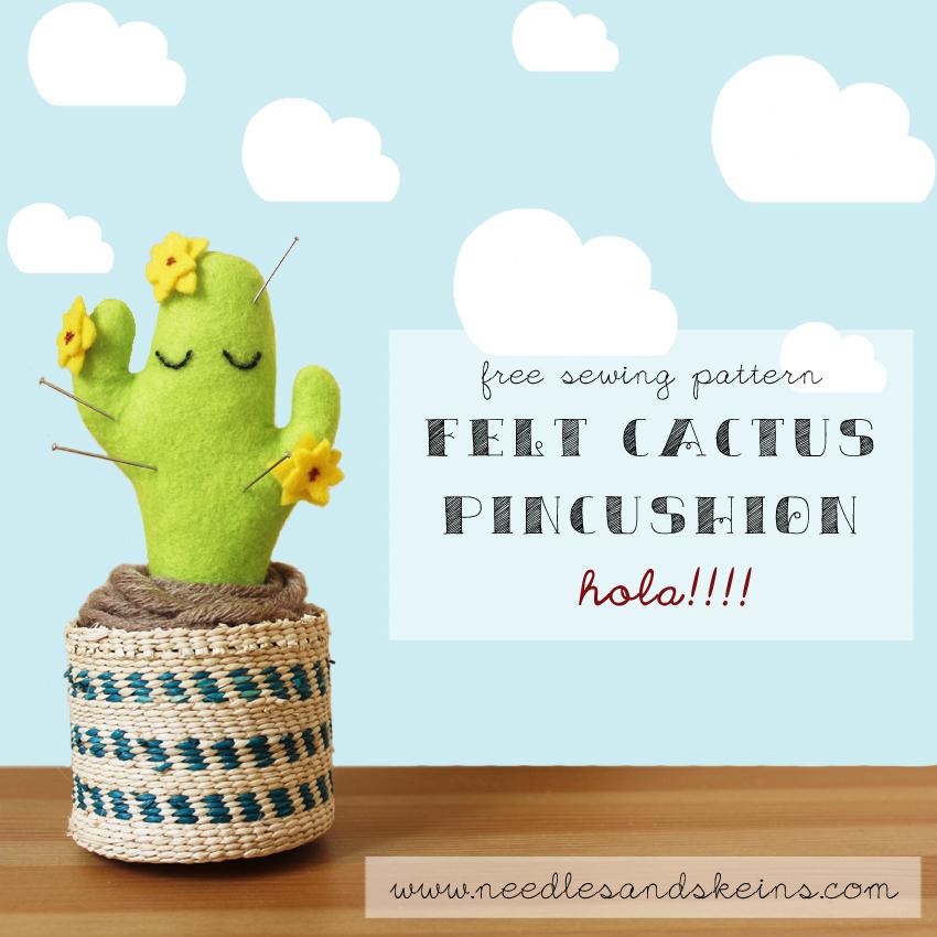 felt cactus pincushion preview