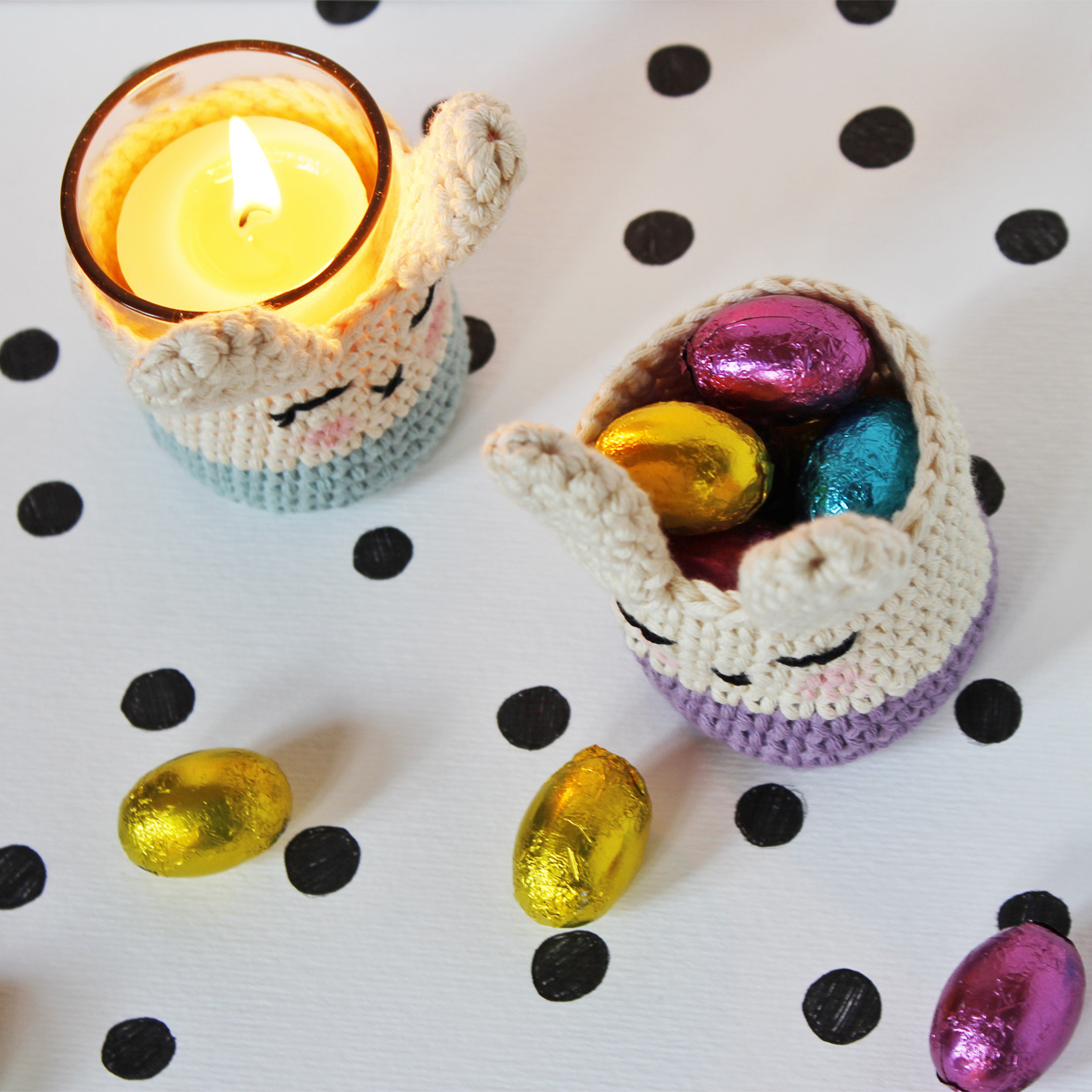 easter bunny candle holders tutorial and free pattern for BettaKnit