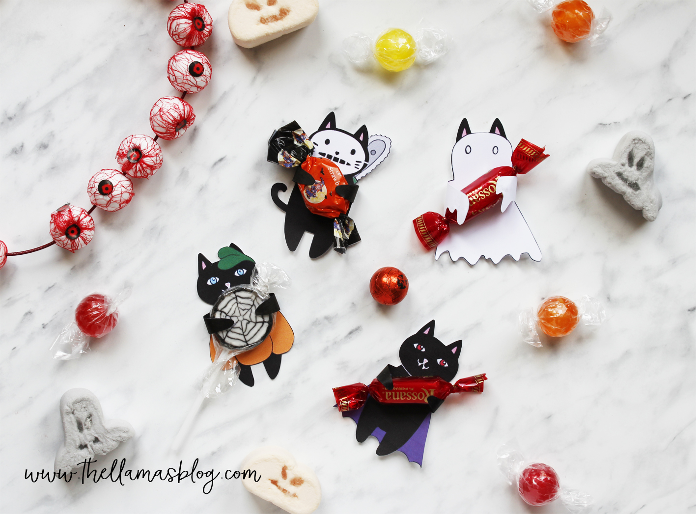 spooky cats halloween gift tags