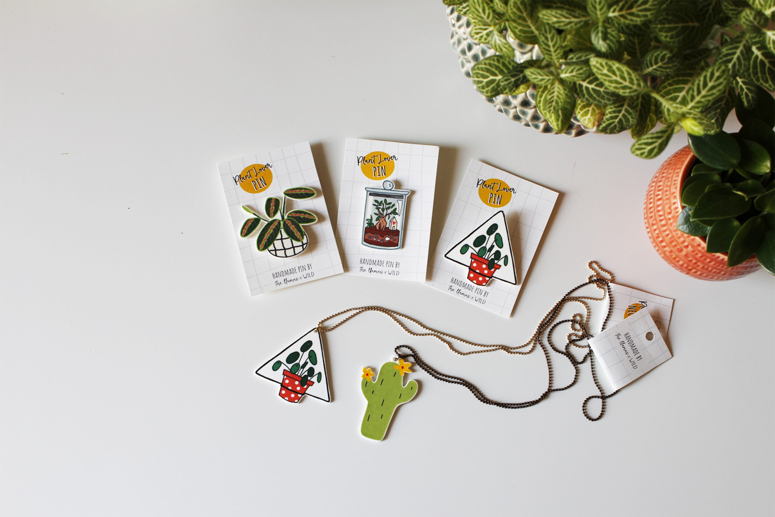 the llamas x wild milano, plant lovers pins and necklaces